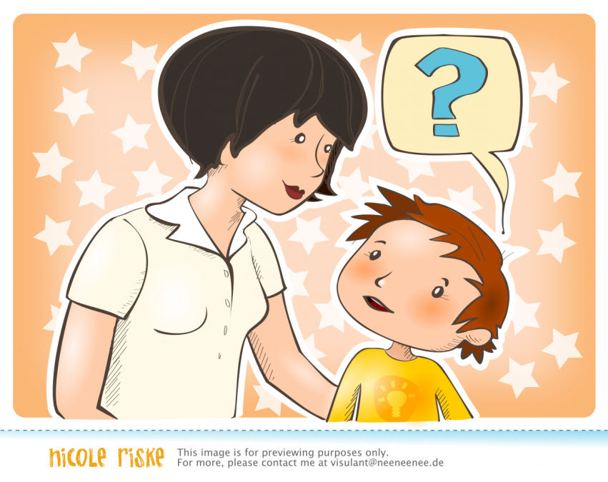 Kind fragt Lehrerin / Erzieherin
