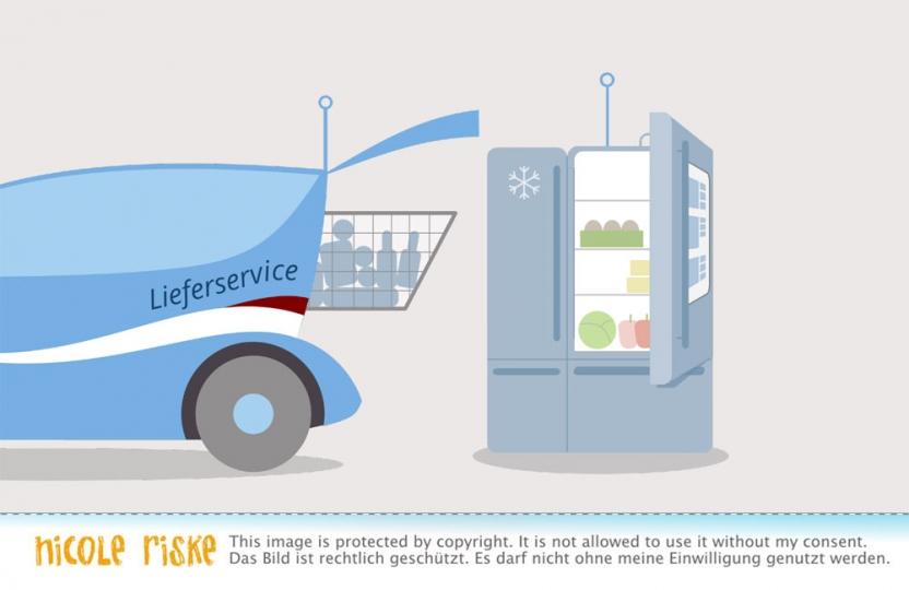 selbstfahrendes Auto beliefert Kühlschrank